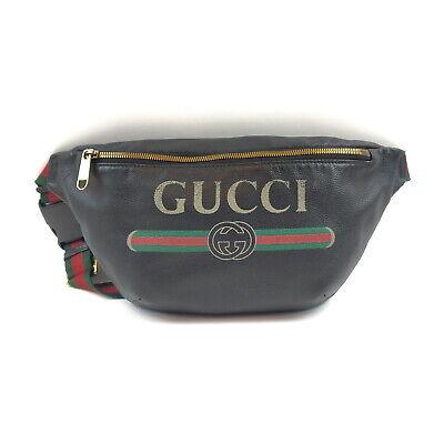 Gucci Waist Pouch Bag Black Leather 1419894
