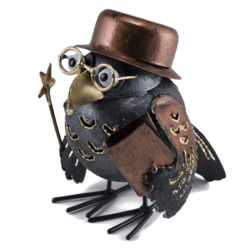 "Handcrafted Owl With Wand & Book Figurine 4.25""H Cute Tin Metal Animal Sculpture"