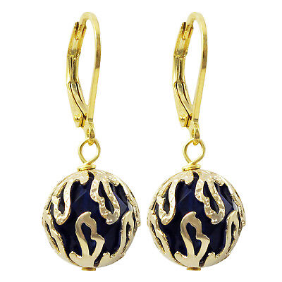 Gold Finish Caged Dark Blue Crystal Dangling Earrings