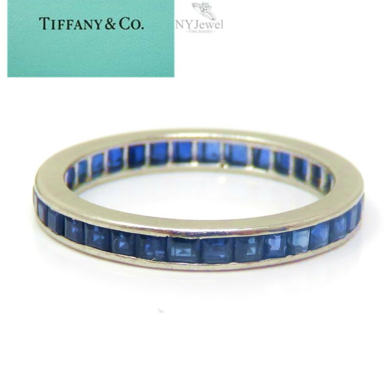 NYJEWEL Tiffany & Co Platinum Sapphire Eternity Band Ring