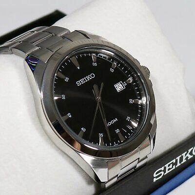 Seiko Men's Stainless Steel Black Dial Quartz Watch SUR209P1