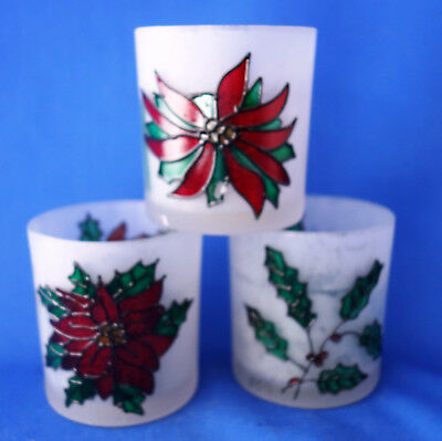 Atico Christmas frosted glass votive candle holders poinsettia holly designs