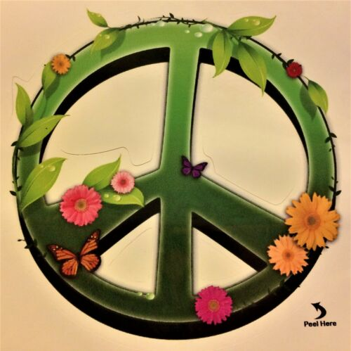 Peace Sign and Flowers Indoor/Outdoor Sticker - Made in USA