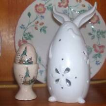 White rabbit plus decorated egg&cup. NEW Vermont Whitehorse Area Preview