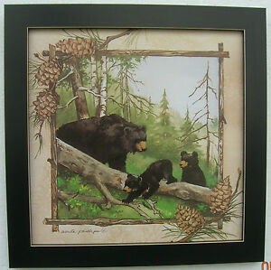 Black Bear Prints Cubs Framed Country Picture Print