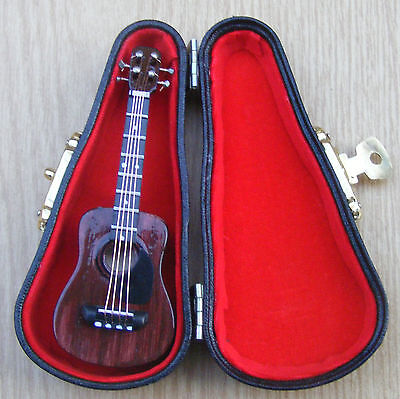 1:12th Scale Wooden Acoustic Guitar & Case Dolls House Miniature Instrument 562