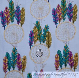 BonEful FABRIC FQ Cotton Quilt Dream Catcher Color Indian Feather Gold Metallic
