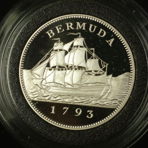 1992 Bermuda $2 Silver Gem Proof Penny Coin in a Blue Plastic Display Box COA