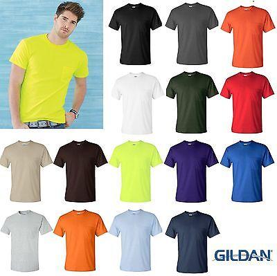Gildan Mens Ultra Cotton Shirts Unisex T-Shirts with a Pocket S - 5XL New - 2300