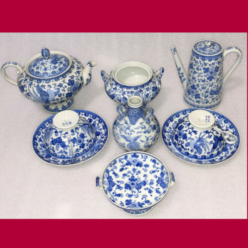 FINE Japanese Seto Sometsuke KATO SHUBEI Blue White Porcelain Tea & Coffee Set