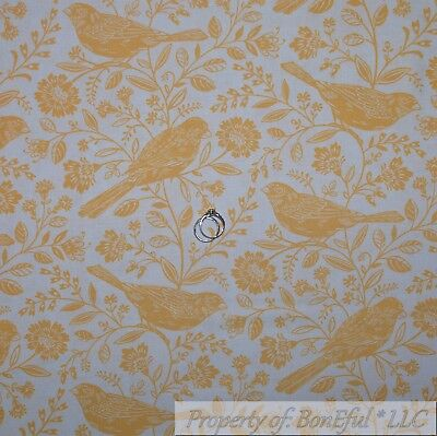 BonEful Fabric FQ Cotton Quilt White Yellow Flower Tree Branch Canary BIRD Toile Yellow Toile Fabric