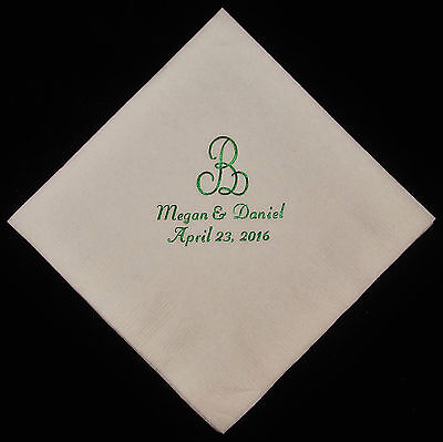 50 personalized monogram beverage napkins wedding napkins custom napkins