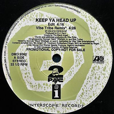 Tupac Shakur 2 Pac Vibe Tribe Interscope Keep Ya Head Up 4 Mix Lp  Nmint Vinyl