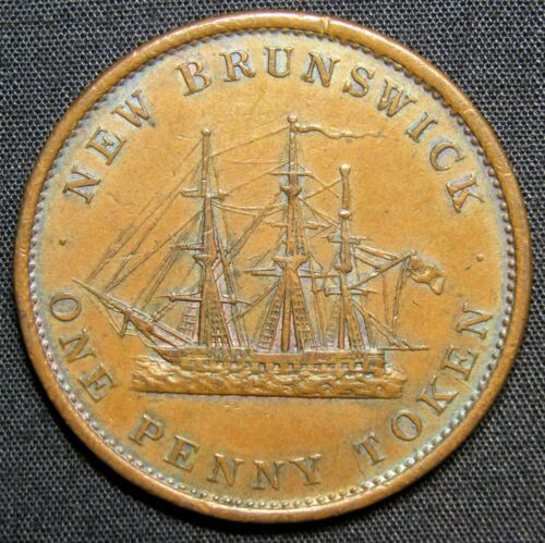 1843 New Brunswick Canada 1 Penny Victoria Ship Copper Token