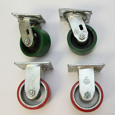 Set Of 4 Heavy Duty 4 Casters W Greasable Bearings 2 Red 2 Swivel 2 Wide