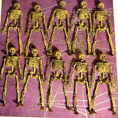 Small Plastic Skeletons (10 Miniature Dollhouse small Plastic Skeleton lot  6