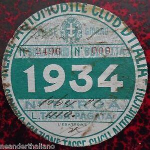 Bollo-auto-1934-fascista-Reale-Automobile-Club-d-039-Italia-Tassa-autoveicoli-RACI