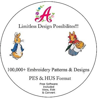 100,000+ EMBROIDERY DESIGNS FILES IN .PES & .HUS-CD/DVD