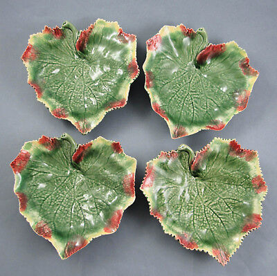 """Bordallo Pinheiro Portugal Set 4 Footed Leaf Shaped 7.25"""" Side Serving Dishes"""