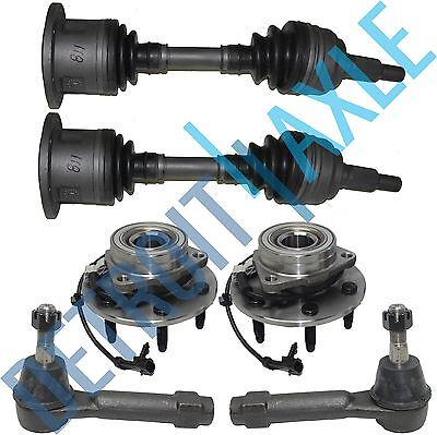 6PC Kit: 2 Front CV Axle Shaft + 2 Tie Rods + 2 Wheel Hub Bearing - 4WD w/ ABS