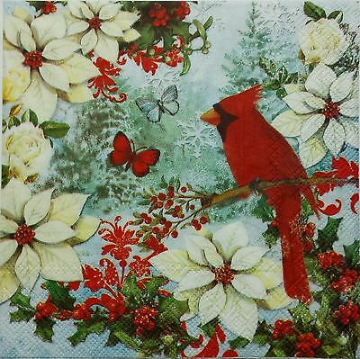 CARDINAL & POINSETTIAS 2 single LUNCH SIZE paper napkins for decoupage 3-ply