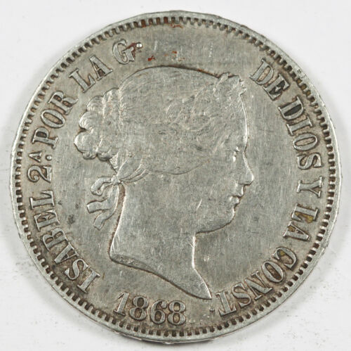 Spanish Philippines 1868 50 Centimos Silver Coin XF+ KM# 147 Isabella II