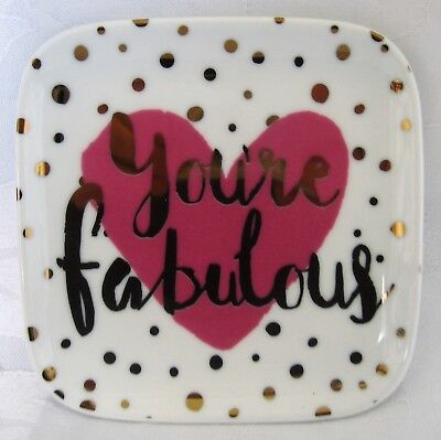 White Ceramic You're Fabulous Trinket Tray Square Gold Dots Pink Heart Ring Dish