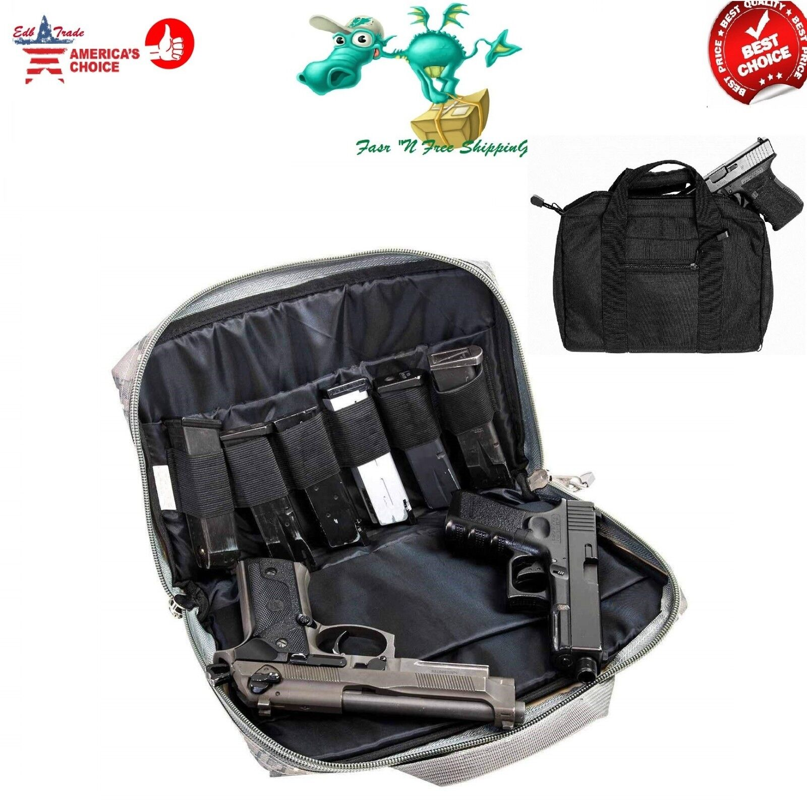 Black Dual Double Pistol Handgun Soft Carry Case Bag Holds 2