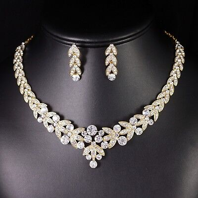 (Floral Clear Rhinestone Crystal Necklace Earrings Set Bridal Prom Gold N20g)
