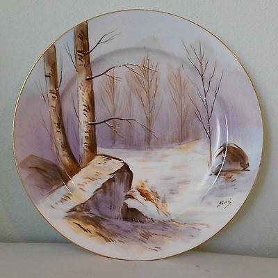 Antique Limoges France Coronet Plate Dish Artist Signed Rene 10