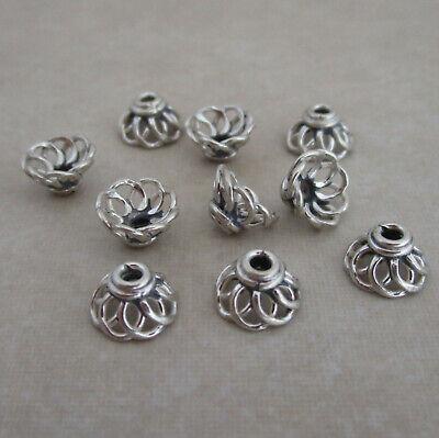 10 sterling silver 7mm Bali handmade plain wire bead -