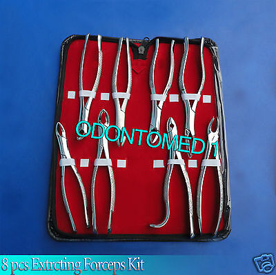 Set Of 8 Pcs Extracting Forcep Set Surgical Dental Instrument
