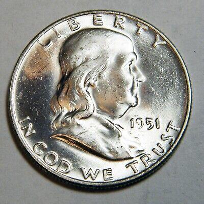 1951-D Franklin Half Dollar, UNC., FULL BELL LINES 1951 Franklin Half Dollar