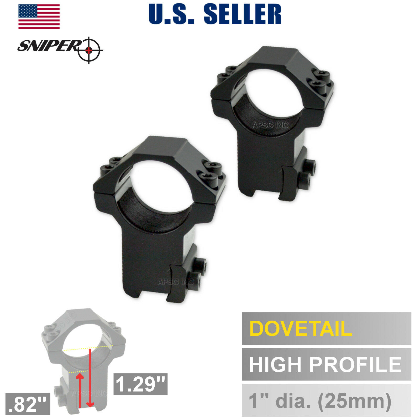 "1"" INCH Dovetail 3/8"" 11mm Rail Base Scope Rings, HIGH Pro A"