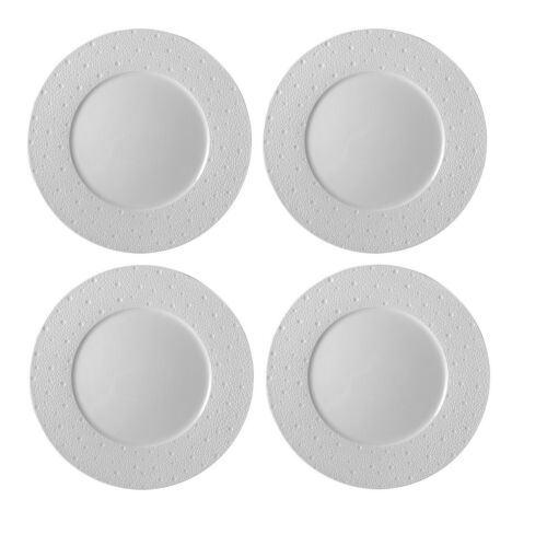 BERNARDAUD ECUME WHITE SET OF 4 DINNER PLATES #0733-20249 BRAND NEW SAVE$$ F/SH