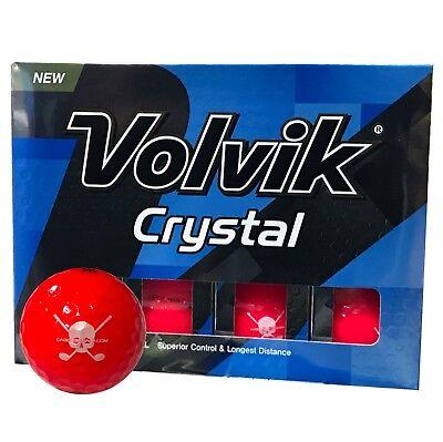 Volvik Ruby Red Crystal Jolly Rogers Skull Crossbones Golf Balls Box of 12 New!