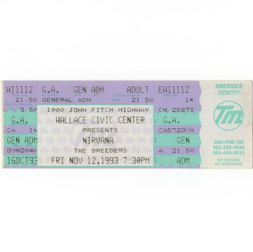 NIRVANA & THE BREEDERS Concert Ticket Stub FITCHBURG MA 11/12/93 IN UTERO TOUR