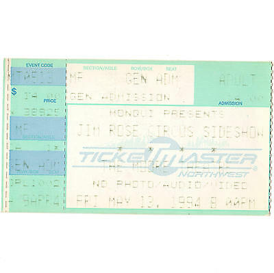 JIM ROSE CIRCUS SIDESHOW Concert Ticket Stub SEATTLE WA 5/13/94 MOORE THEATRE