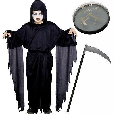 Scream Robe Screamer Ghost Boys Girls Halloween Fancy Dress + Scythe, Face Paint