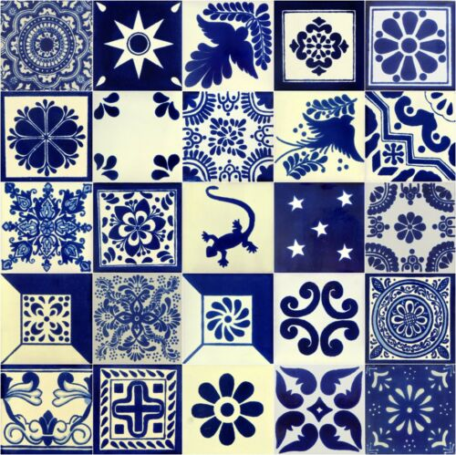 25 4x4 Mexican Ceramic Tiles Blue & White Mixed Designs