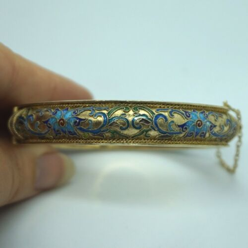 RARE Vintage Sterling Silver Enamel Chinese Export Floral Hinged Cuff Bracelet