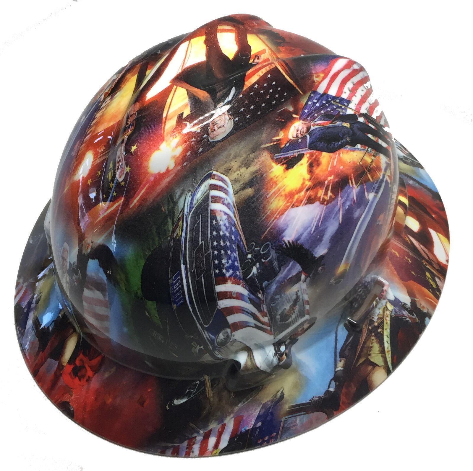 Hydro Dipped Trump Hard Hat MSA Full Brim W/ Free BRB TShirt 2