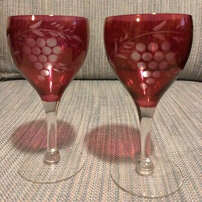 Set of 2 Ruby Red Cut to Clear Grapes Etched Wine Goblet