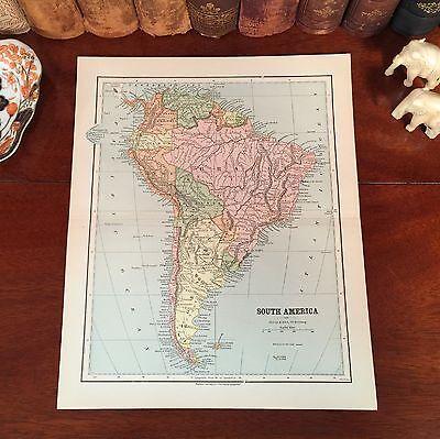 Original 1882 Antique Map SOUTH AMERICA Galapagos Islands Cochabomba Patagonia