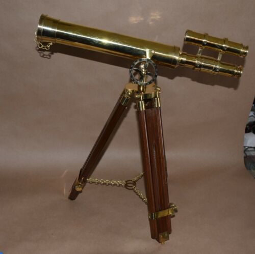 Nautical Griffith Telescope Solid Brass Telescope 17 inch Wooden Tripod