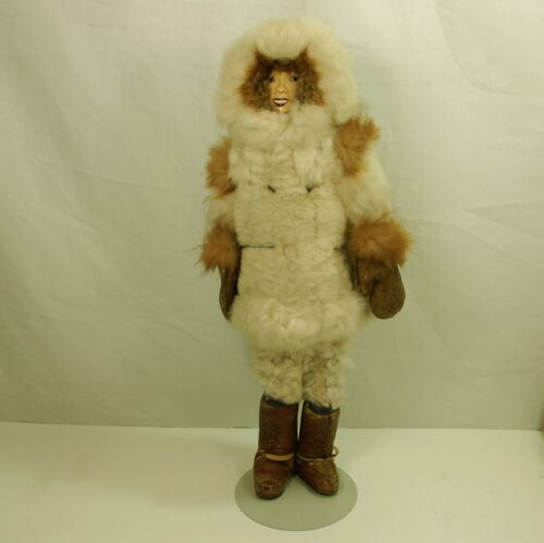 """Primitive Intuit Eskimo Doll with Real Fur Mask Ceramic Face Sewed on head. 21"""""""