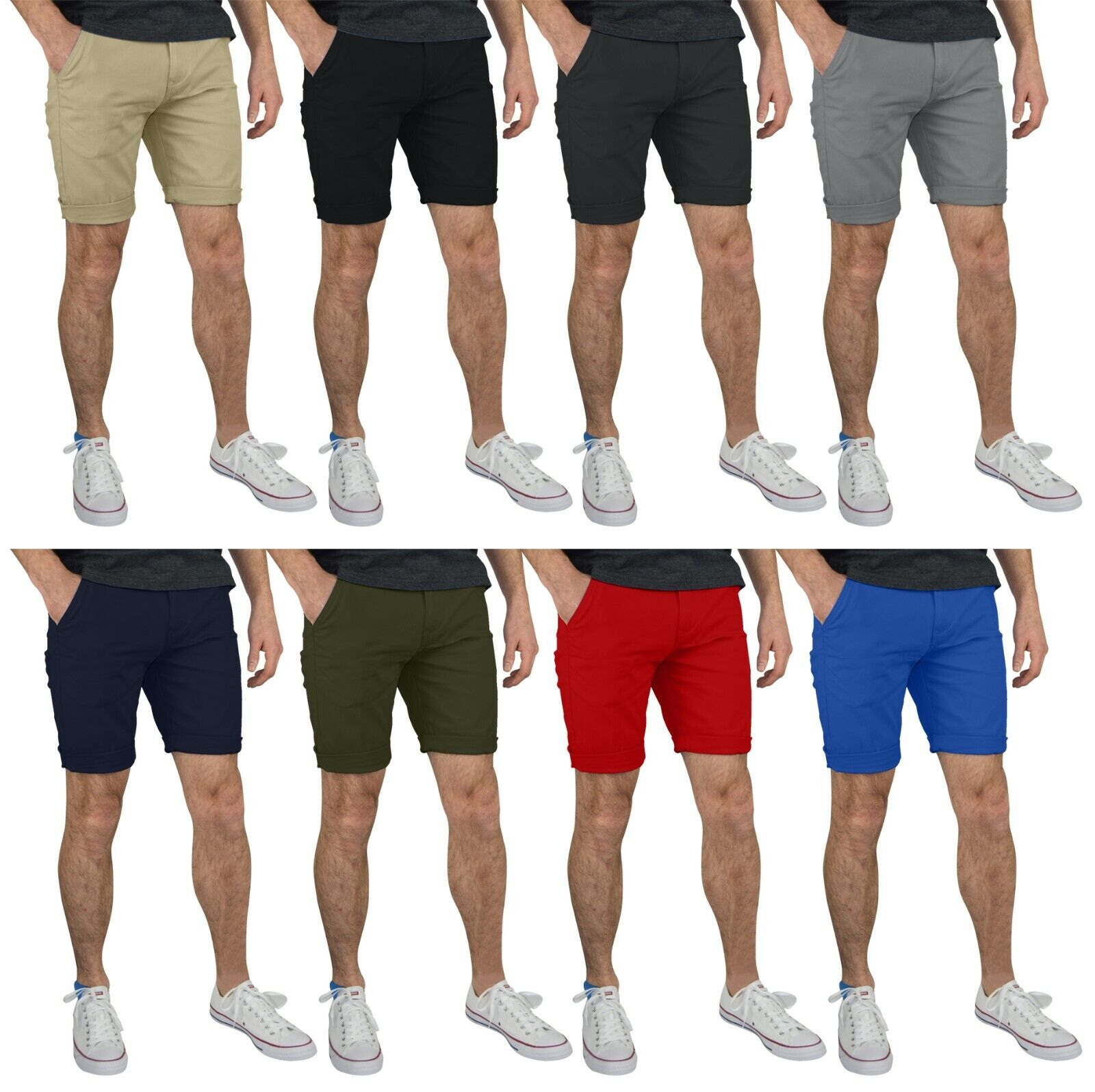 GantsHill Mens Flat Front Chino Shorts 100% Cotton Half Pants Clothing, Shoes & Accessories