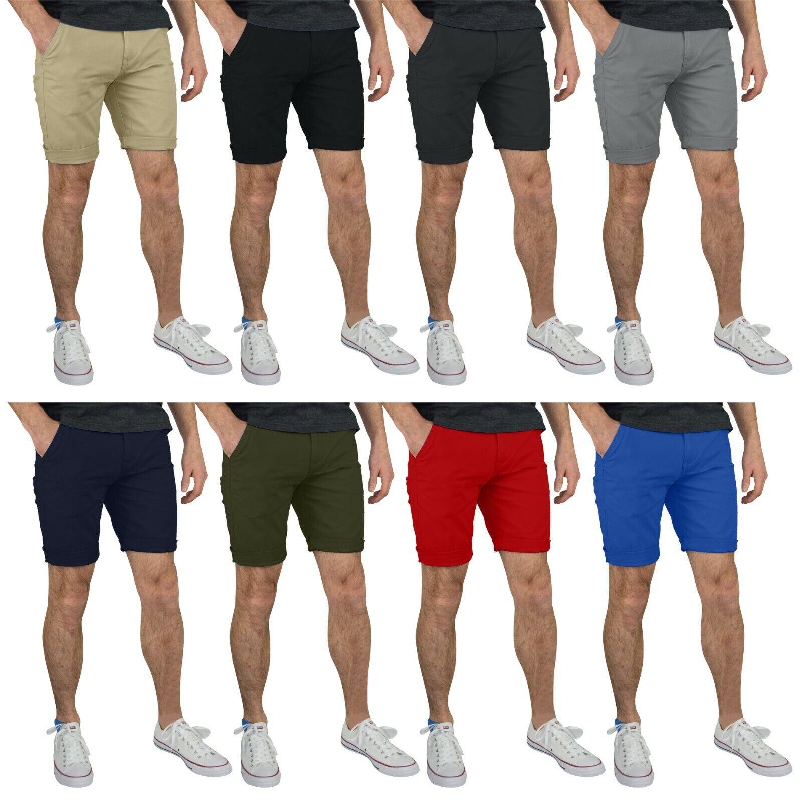GantsHill Mens Flat Front Chino Shorts 100% Cotton Half Pant
