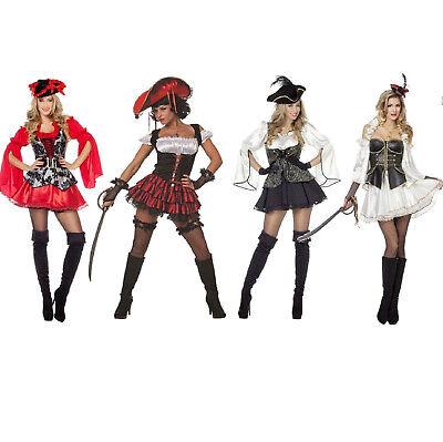 Pirat Piraten Kostüm Kleid Damen Seeräuber Freibeuter Hut Piratenhütchen Piratin