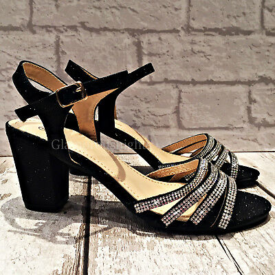 Ladies Black Medium Block Heel Sparkly Diamante Strappy Peep Toe Evening Sandal